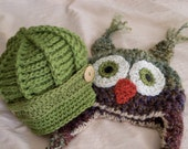 Newsboy and Owl Hat Pair - Boys  Photo Prop Hat Duo - by JoJosBootique