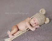 Bear Hat - Baby Bear Hat - Baby Hat - Newborn Bear Hat - Newborn Photo Prop - by JoJosBootique