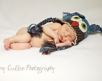 Owl Hat - Baby Owl Hat - Newborn Owl Hat -Two toned Cute and Soft Earflap - by JoJosBootique