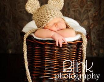 Bear Hat - Baby Bear Hat - Baby Hat - Newborn Bear Hat - Oatmeal Bear Hat Photo Prop -by JoJosBootique