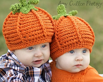 Baby Hat Pumpkin Hats - Twin Pumpkin Hats - Twin Set Halloween Costume Baby Hats -by JoJosBootique