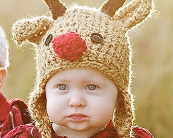 Baby Hat - Reindeer Hat - Children's Christmas Hat - Crochet Baby Hat - Baby Reindeer Hat - Toddler Reindeer Hat - by JoJosBootique