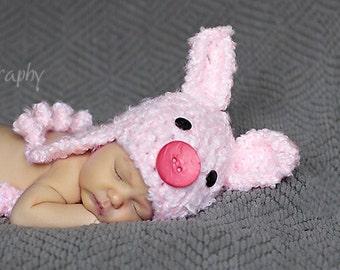 Baby Piggy Hat - Baby Hat- Pig Hat - Crochet Pig Beanie - Baby Shower Gift - Newborn Pig Hat -by JoJosBootique