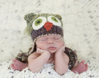 Baby Owl Hat -  Newborn Owl Hat - Green Owl Baby Hat - Two Toned Owl Hat -  Photography Prop - By JoJo'sBootique