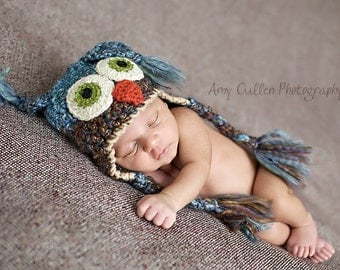 Baby Hats - Owl Hat - Baby Owl Hat - Baby Hat - Owl Hat - Blue Two toned Baby costume Hat - by JoJosBootique