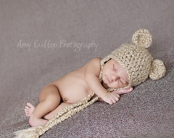 Bear Hat - Baby Bear Hat - Baby Hat - Newborn Bear Hat - Photo Prop -by JoJosBootique