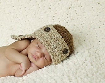 Baby Aviator  Hat - Baby Hats -Newborn Size - Aviator Hat - Baby Hat - by JoJosBootique