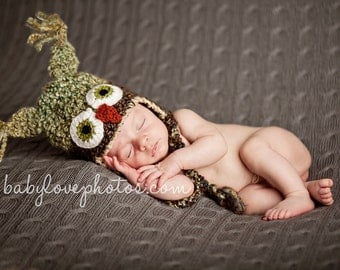 Owl Baby Hat - Owl Photo Prop - Owl Beanie - Green and Brown Owl Hat - Baby Hats - by JoJosBootique