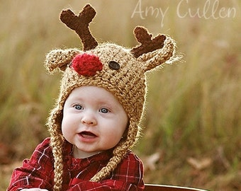 Baby Hat - Reindeer Hat - Baby Reindeer Hat - Newborn Deer Hat - Cute and Soft Earflap - by JoJosBootique