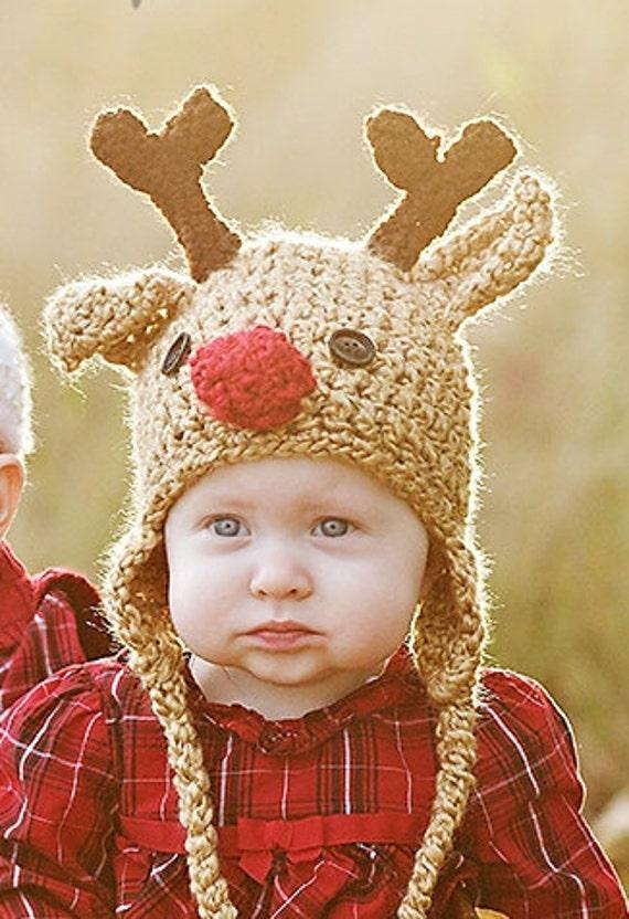 Baby Hat - Reindeer Hat - Children's Christmas Hat -  Baby Reindeer Hat -Toddler Reindeer Ear Flap Hat - by JoJosBootique