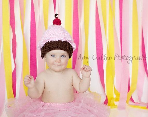 Cupcake Hat -  Girl's Baby Hat  - Cupcake Baby Hat -Birthday Bash Hat - Baby Hat  -by JoJosBootique