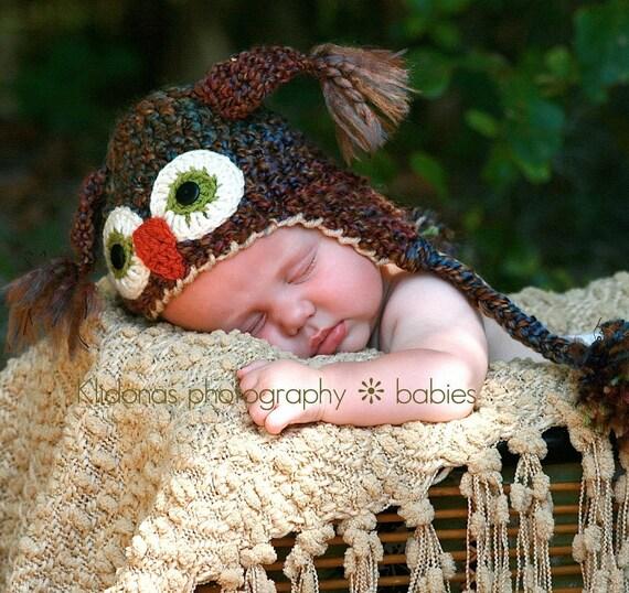 Brown Newborn Owl Hat -Crochet Owl Hat - Cute and Soft Earflap - Baby Hat -  Newborn Baby Hat   -by JoJosBootique