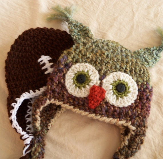 Owl Hat and Football Hat Duo - Baby Hats -Photo Prop - Owl and Football Boys  Earflap Hat Duo - by JoJosBootique