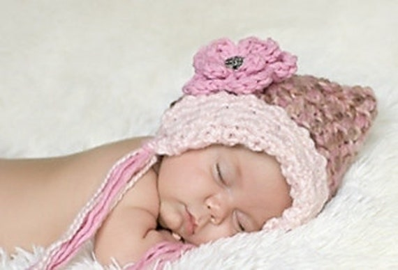Baby Girl Hat - Pixie Hat - Pink Girl's Baby Hat- Pink Baby Bonnet - Pixie Hat with Removable Flower clip -by JoJosBootique