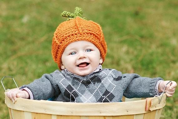 Pumpkin Hat - Baby Hat - Baby Pumpkin Hat - Pumpkin Photo Prop Hat - Newborn Baby Hat - by JoJosBootique
