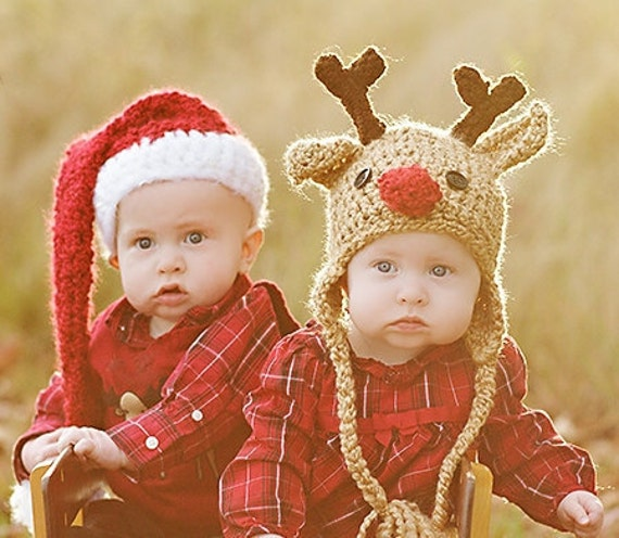 Baby Hat Set - Baby Hats - Santa Hat and Reindeer Hat - Twin Set - Baby Santa Hat - Baby Reindeer Hat