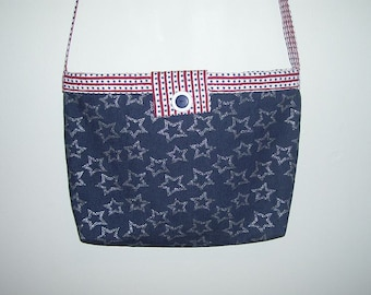 ON SALE now 25.00 was 30.00 Messenger/Cross Body Bag, Denim with stars, red, white and blue