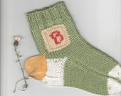 Hand knit Socks Child PERSONALIZED Knitted label Letters Yarn wool acrylic blend Warm Multicolored Handmade by Dimana