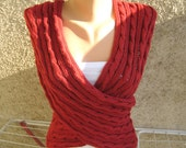Cable Lace Infinity Shawl / Vest Red Sleeveless jacket Wrap Cowl Capelet Knitted Women Timeless Burgundy Elastic Handmade by Dimana