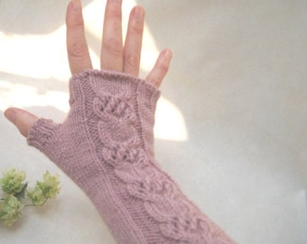 Cable Fingerless Gloves Fingerless Mittens, Long Ash Rose Fingerless Gloves, Knit Romantic Mittens, Winter Women Accessory, Wool Arm Warmers