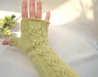 Long Cable Fingerless Gloves, Knitted Fingerless Mittens, Elegant Women Accessories, Classic Wool Gloves, Winter Khaki Mittens, Christmas