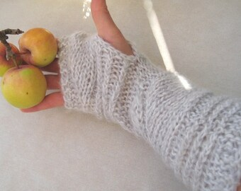 Long Cable Alpaca Fingerless Gloves, Silver Grey Wool Fingerless Mittens, Hand Knit Arm Warmers, Winter Women Accessory, Soft Fall Gloves