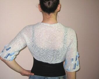 White Shrug Bolero Vest Wool / Acrylic Boucle Decorated Knitted Boho Beach Evening Party Women Trendy S / M US 6 / 8 / 10 UK 8 / 10 / 12