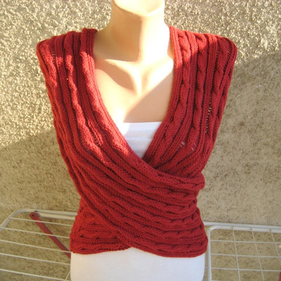 Cable Lace Infinity Shawl, Red Sleeveless Jacket, Hand Knit Women Wrap, Modern Timeless Scarf Cowl, Fall Winter Accessories, Christmas Gift