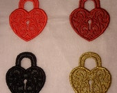 UK TINY gothic lace heart lock applique, trimming, steampunk, hand made, valentine, love