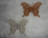 UK Two lace applique butterflies, gold and ecru, wedding,  fascinator, hand made, love
