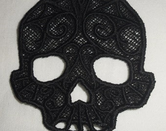 UK Black gothic lace skull applique, trimming, choker centerpiece, cuff, fascinator hand made