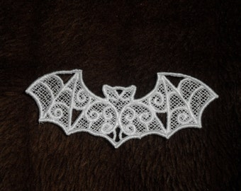 UK set of 3 white gothic lace bat applique, trimming, choker centerpiece, cuff, wedding