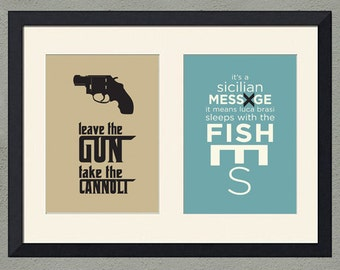 Godfather Inspired Art Prints, Set of Two, 5x7 inch – Special Price