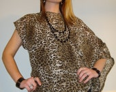 Off Shoulder Asymmetrical Top With Kimono Sleeve In Black And Brown Sheer Animal Print