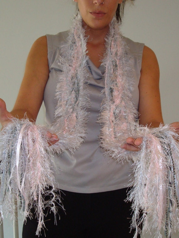 Unique Soft Pink and Light Grey Scarf Made with Yarn and Ribbon