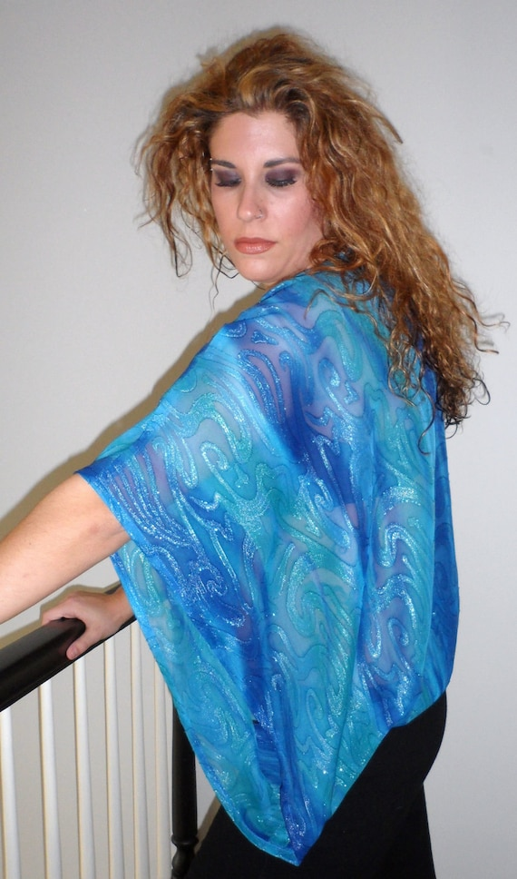 Unique Asymmetrical Blouse with Kimono Sleeve In Blue Swirl Fabric Size M