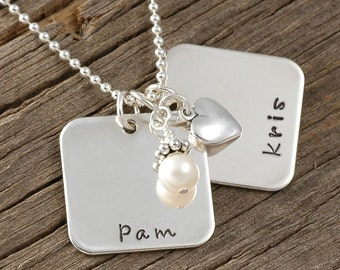 Personalized Necklace - Two Squares with freshwater pearl and silver heart