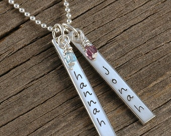 Mother's Jewelry - Personalized Necklace - Two Rectangle Tags - Double Sided - Bar Necklace, Mother's Day gift, gifts for mom