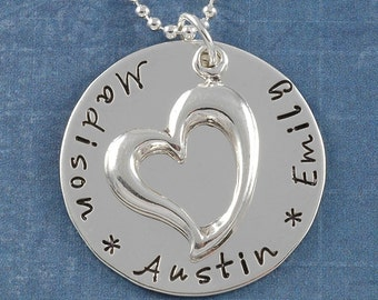 Hand Stamped Mommy necklace with stylish Heart Charm