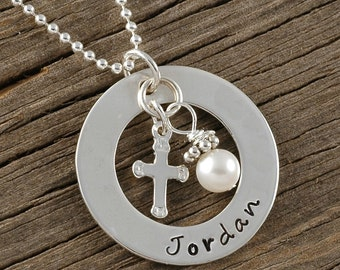 Personalized Name Necklace with cross charm and pearl - sterling silver open circle - confirmation - baptism - faith