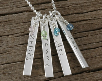 Personalized Rectangle Bar Necklace with birthstones Double Sided - Four bars - Sterling Silver - vertical bars