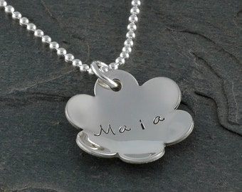 Personalized Flower Necklace - concave - cupped - Sterling Silver - Mommy jewelry - Flower Girl