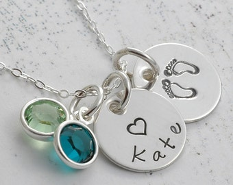 """Hand Stamped Jewelry -  Two 1/2"""" silver discs with birthstones"""