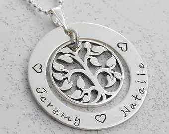 """Family Tree Necklace - Personalized Necklace - mother's necklace - Washer with tree charm - 1.25"""" sterling silver"""