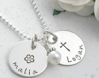 "Mommy Jewelry - Personalized hand stamped necklace -  two 5/8"" discs with pearl, Mother's Day gift, gifts for mom"