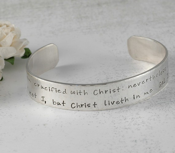 Hand Stamped Personalized Cuff Bracelet - Sterling Silver - Custom words - phrase - bible verse - names