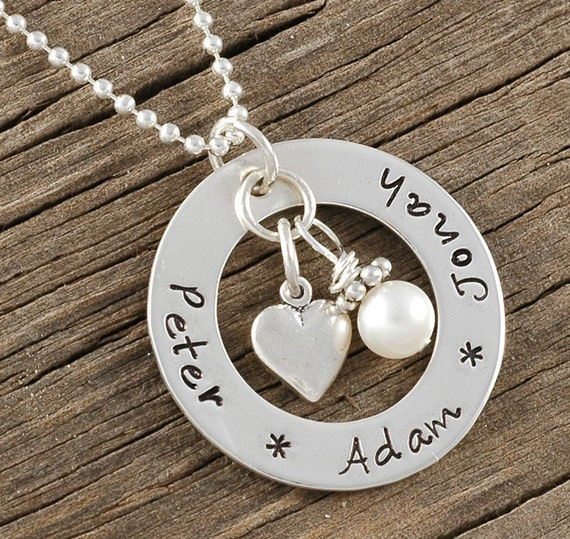 Mommy Jewelry - personalized hand stamped necklace - open circle washer - heart and pearl