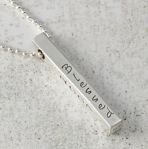 Personalized Necklace - 4 four sided Bar - hand stamped jewelry  - Sterling silver