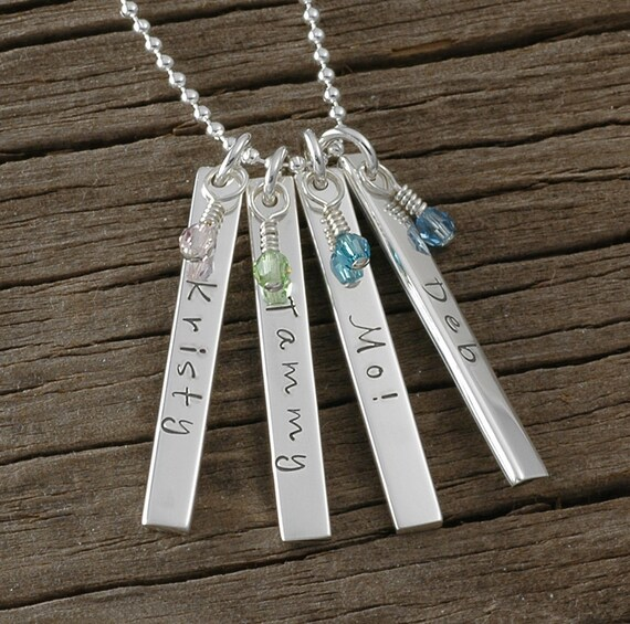 Personalized Rectangle Tag Necklace with birthstones Double Sided - Four charms