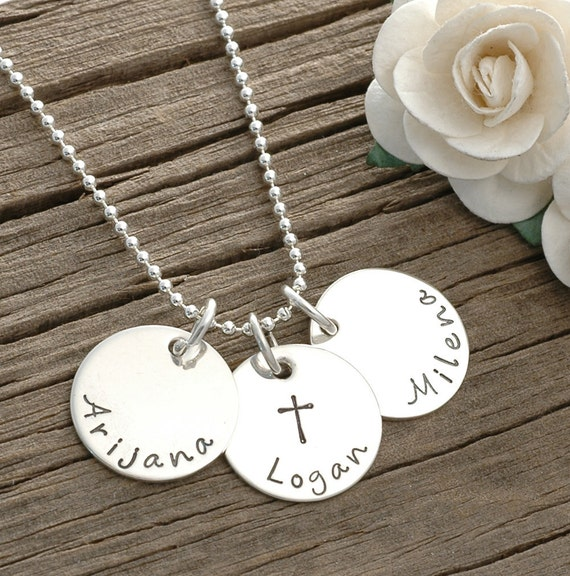 """Mommy Jewelry - Personalized hand stamped necklace -  three 5/8"""" discs"""